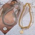 Ожерелье-чокер женское многослойное, Трендовое Винтажное колье с монетницей, массивная цепь под золото и серебро, Ювелирное Украшение