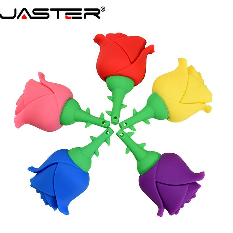 JASTER USB Flash Drive  Rose Beautiful Flower 4G Pendrive 64G 32G Pen Drive 16G Love Gift U Disk Memory Stick 8G Free Shipping
