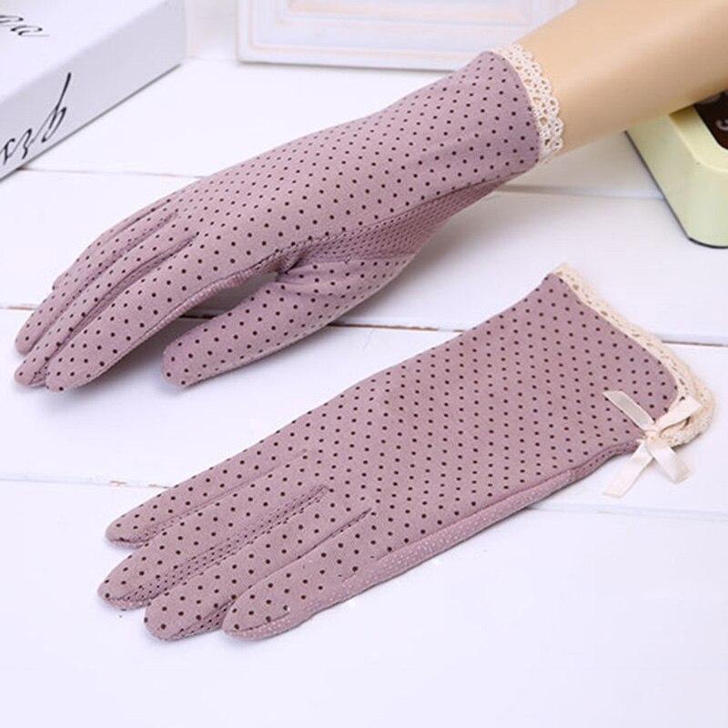 NDUCJSI Dot Bow Gloves Driving Sunscreen Mittens Summer Female Cotton Glove Thin Non-slip Protection Dot Glove Women's 1 Pair