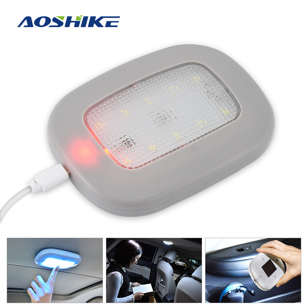 AOSHIKE 1PCS car interior light Car Reading Light USB Rechargeable Magnetic Interior Roof Doom Lamp Universal <font><b>LED</b></font> Car Styling image