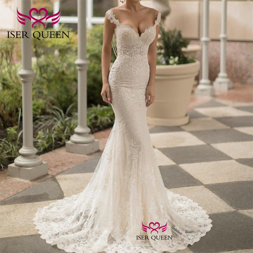 Cap Sleeves Embroidery And Appliques Pearls Mermaid Wedding Dresses Sexy Illusion Backless Ivory 2020 Robe De Mariee Bride W0641