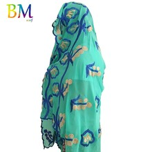 IN STOCK ! High Quality African Women Chiffon Scarf Embroidery Musim Size 200*100cm for shawls wraps BX416
