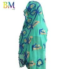 В НАЛИЧИИ ! Высокое качество африканских женщин шифоновый шарф размер Musim вышивка 200*100см для шали обертывания BX416