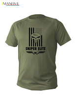 2019 Fashion Hot T Shirt Mens Dry Fit Short Sleeve ArmyGreen Olive Sniper Army Military Punisher Usa Tee shirt