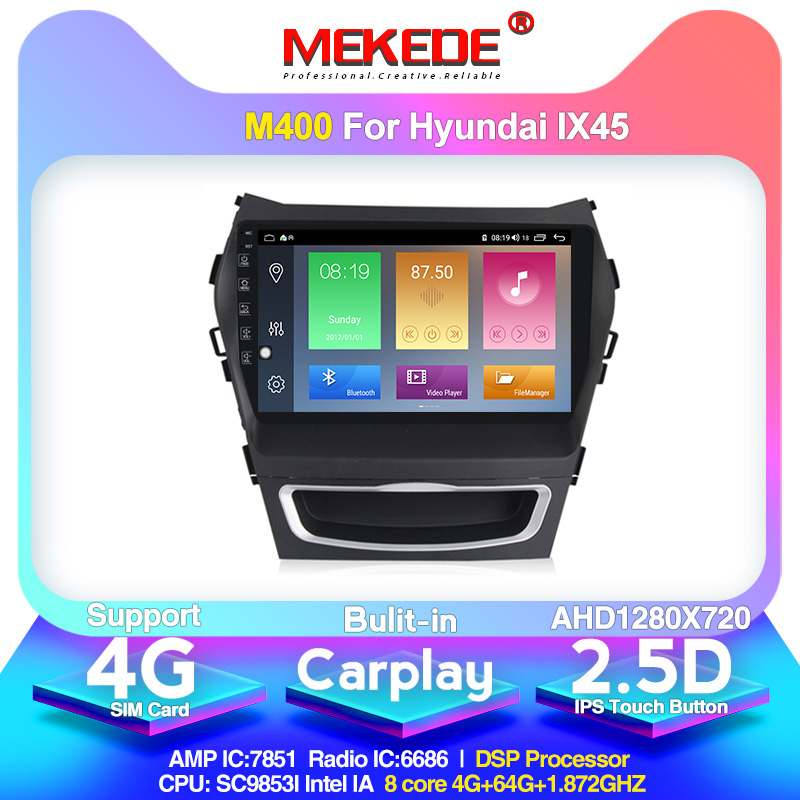 4G LTE android10.0 4G+64G Car Multimedia <font><b>GPS</b></font> Navigation Radio Player for <font><b>Hyundai</b></font> IX45 <font><b>Santa</b></font> <font><b>fe</b></font> 2013 Built-in carplay DSP IPS image