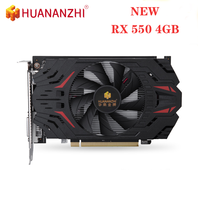 NEW HUANANZHI <font><b>RX</b></font> <font><b>550</b></font> 4G Graphics Card 128Bit GDDR5 6000MHz 1183MHz RX550 HDMI DVI VGA 14Nm 512Units 50W Video Card Original image