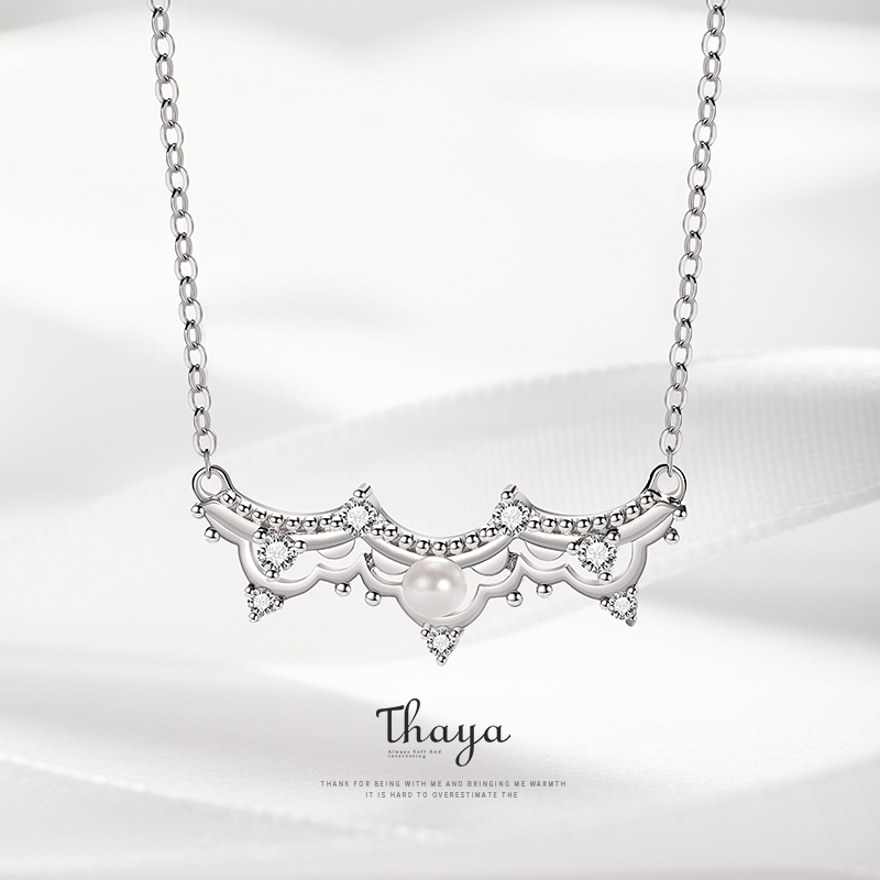Thaya 925 Sterling Silver Dream Wedding Necklace Pearl Crystal Romantic Silver Necklaces For Women Necklace Jewelry Gift