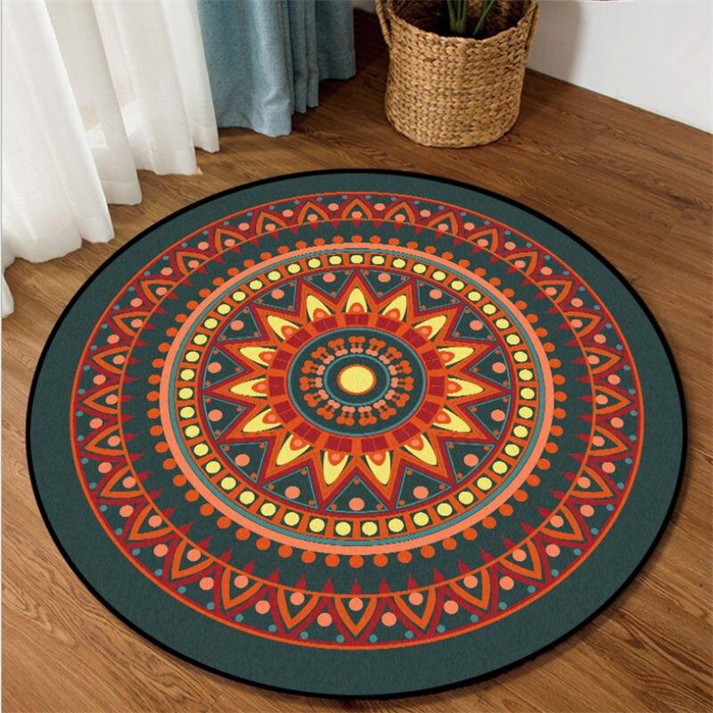 Rugs And Carpets For Home Living Room Orange Mandala Flower Pattern Round Carpet Area Rug For Bedroom Mechanical Wash