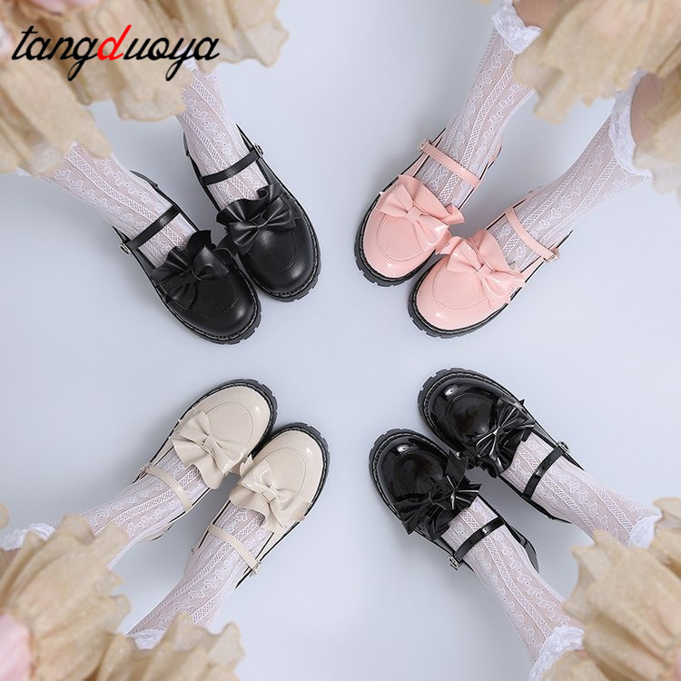 Lolita Shoes Heels Bow Women Shoes College Girl Students Lolita Shoes Pink High Heels Women's Low Heel Shoes Sweet Lolita