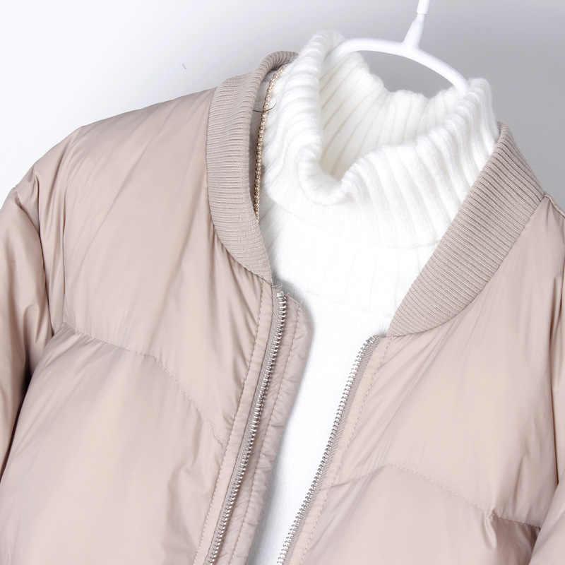 2019 女性の冬のロングコート長袖ライトホワイトダックダ女性ルース暖かいロングコート Casaco Feminino 特大パーカー