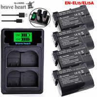 Bateria EN EL15 ENEL15 EN-EL15 Paquete de batería para Nikon D500, D600, D610, D750, D7000, D7100, D7200, D800, D800E, D810, D810A y 1 v1