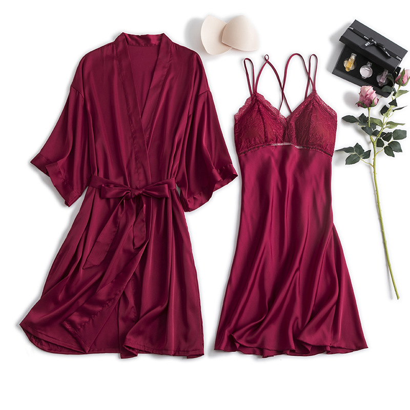 Women's Sleepwear Women's Summer 2019 New Style Backless Strap Nightgown Two-Piece Set Mid-length Viscose Fibre Home Wear Thin