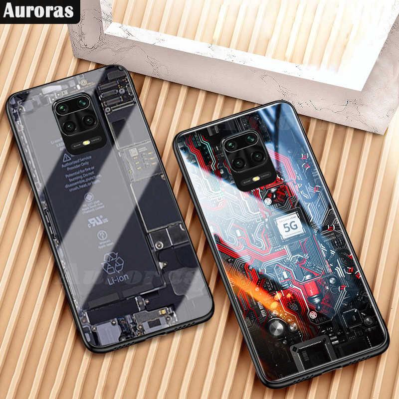 Auroras pour Redmi Note 9S boîtier Explorer peint verre trempé silicone de protection pour Redmi Note 9 Pro Max housse Poco F2 Pro