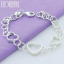 DOTEFFIL – Bracelet cœur complet en argent Sterling 925 pour femmes, bijoux de fête de fiançailles et de mariage à la mode
