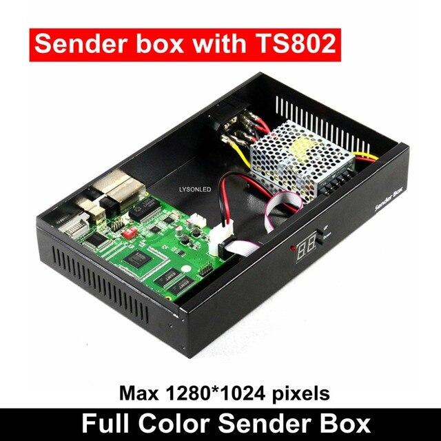 Синхронизация Крытый открытый светодиодный видео экран отправителя коробка с Linsn TS802 отправка карты Meanwell источник питания включен