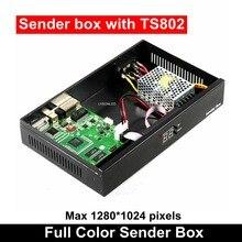 การซิงโครไนซ์ในร่มLedกลางแจ้งวิดีโอผู้ส่งกล่องLinsn TS802 ส่งการ์ดแหล่งจ่ายไฟMeanwellรวม