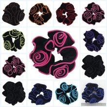 1 pcs Women Gold Velvet Flower Scrunchies Ponytail Holder Ropes Elastic Hair Bands Accessories Headwear
