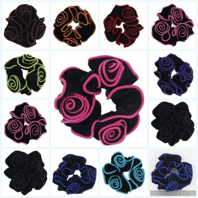 1 pcs Women Gold Velvet Flower Scrunchies Ponytail Holder Ropes Elastic Hair Bands Hair Accessories   Headwear