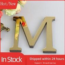 Зеркальные 3d-буквы 15 см, наклейки на стену с логотипом и именем, зеркальный английский настенный Декор для дома, черный/Золотой/Серебряный F23