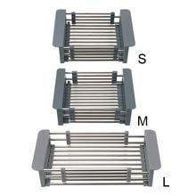 Stainless Steel Telescopic Sink Storage Rack Adjustable Sink Dish Drainers Dish Drying Rack Drain Basket Kitchen Organizer