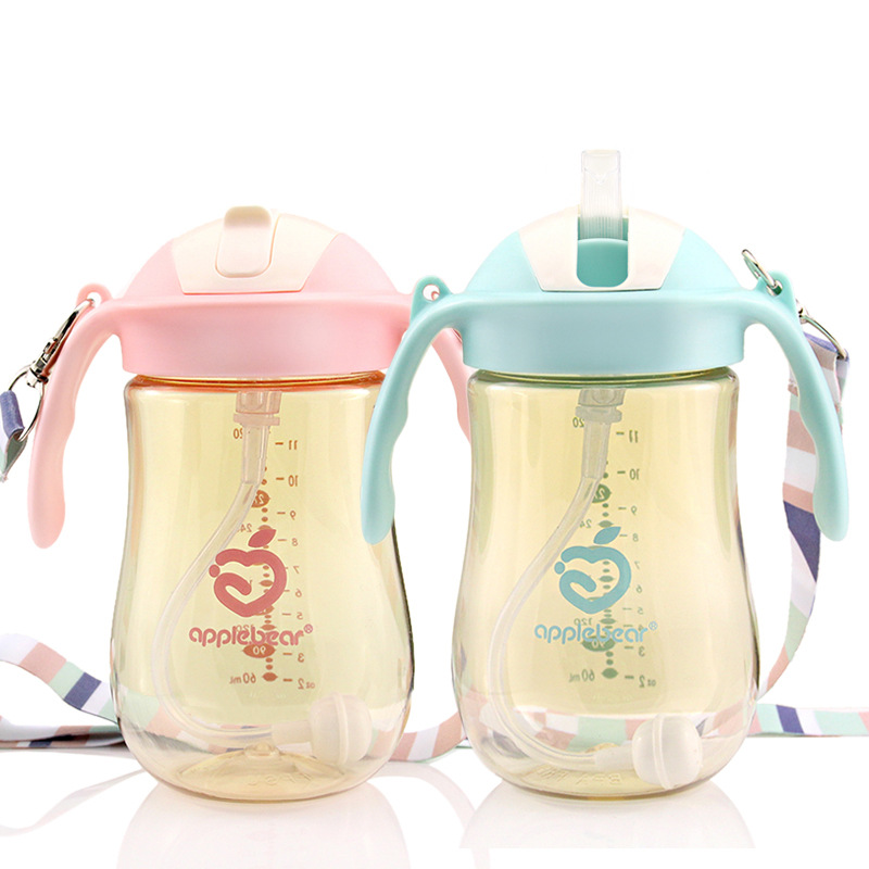Apple Bear PPSU Children Sippy Cup 320ML Pitcher Infant Drinking Cup With Handle Straw Baby Drinking Cup