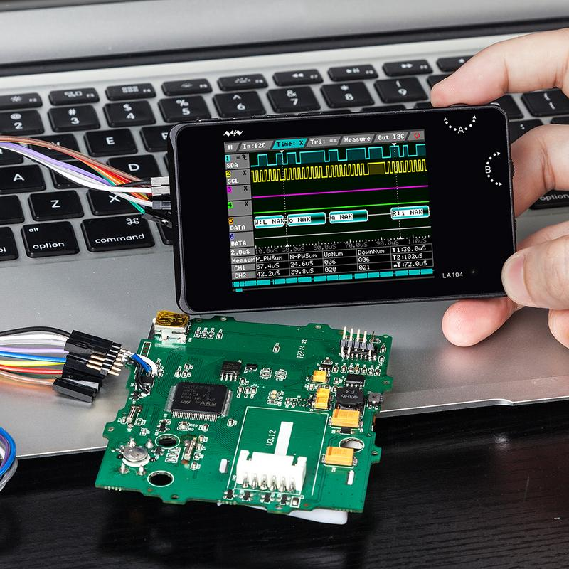 Цифровой логический анализатор 2,8 дюймов экран 4 канала Осциллограф SPI IIC UART программируемый 100 МГц максимальная частота дискретизации ШИМ IEC серийный