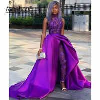 Púrpura noche musulmanes vestidos de encaje monos desmontable ilusión Dubai saudí vestidos de noche árabe vestido de baile de graduación