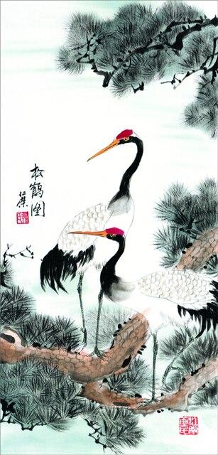 Art de défilement mural asiatique, Art de décoration de la maison Fengshui, images murales de peinture de défilement de soie traditionnelle chinoise-grue