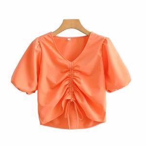 New 2020 women fashion orange color front drawstring smock blouse ladies lantern sleeve lace up shirts chic blusas tops LS6578