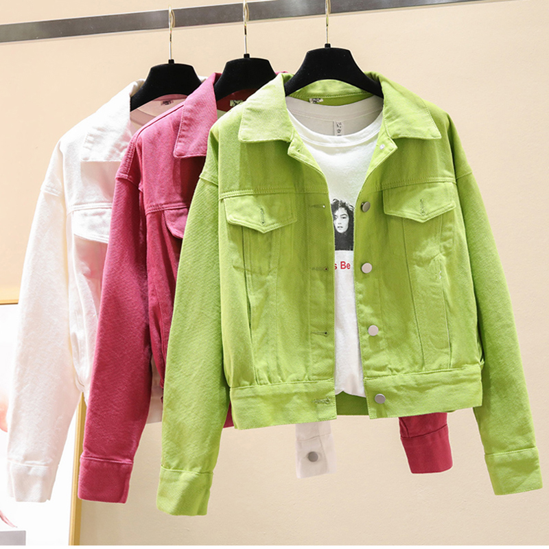 Denim Jacket Women Clothing New Spring Autumn Wild Candy-colored Jeans Coat Korean Loose Bat Sleeves Outerwear Female Tops AH115