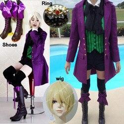 Anime black butler temporada 2 earl alois uniforme trancy cosplay festa traje custome com anel trajes de halloween e perucas sapatos