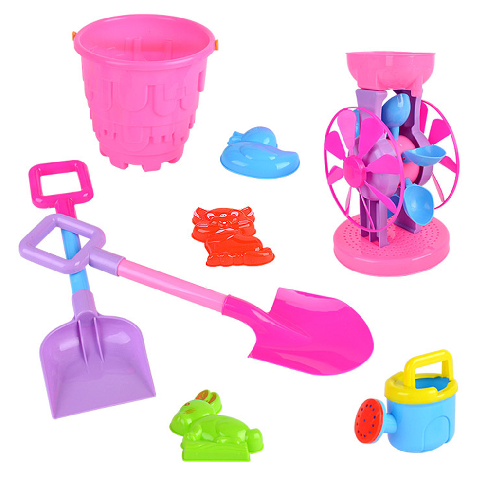 8pcs Outdoor Beach Playset Baby Beach Toy Set Plastic Shovel Bucket Shovels Rake Hourglass Bucket ChildrenSand Set For Children