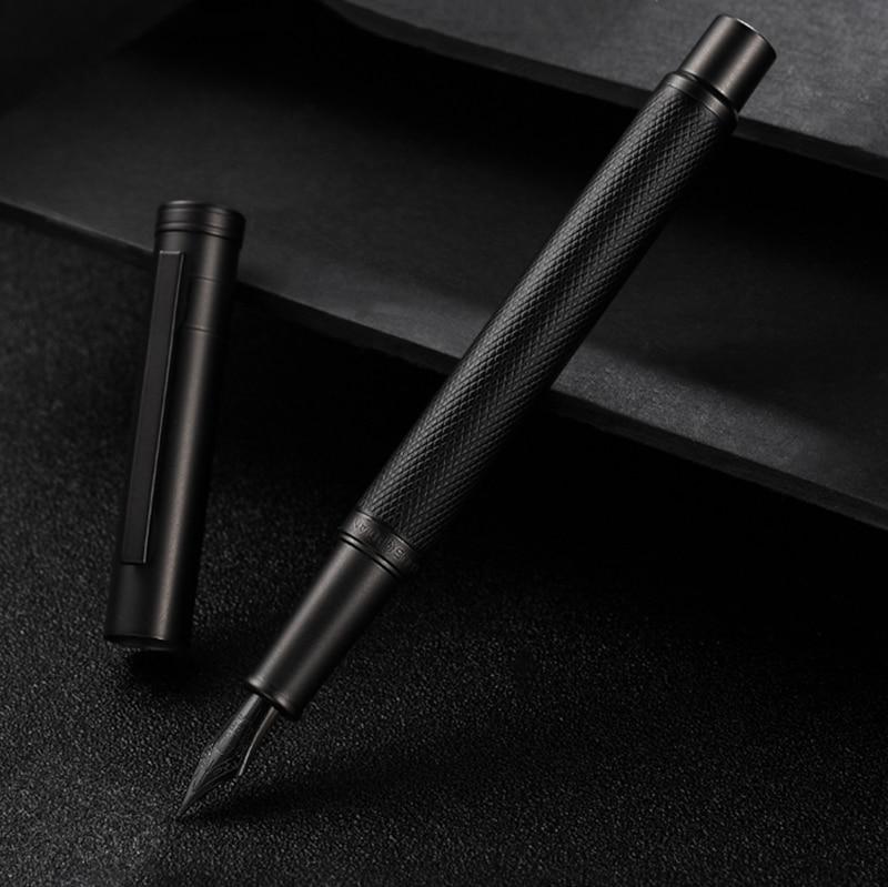 Hongdian Black Metal Fountain Pen Titanium Black EF/F/Bent Nib Beautiful Tree Texture Excellent Writing Gift For Business Office