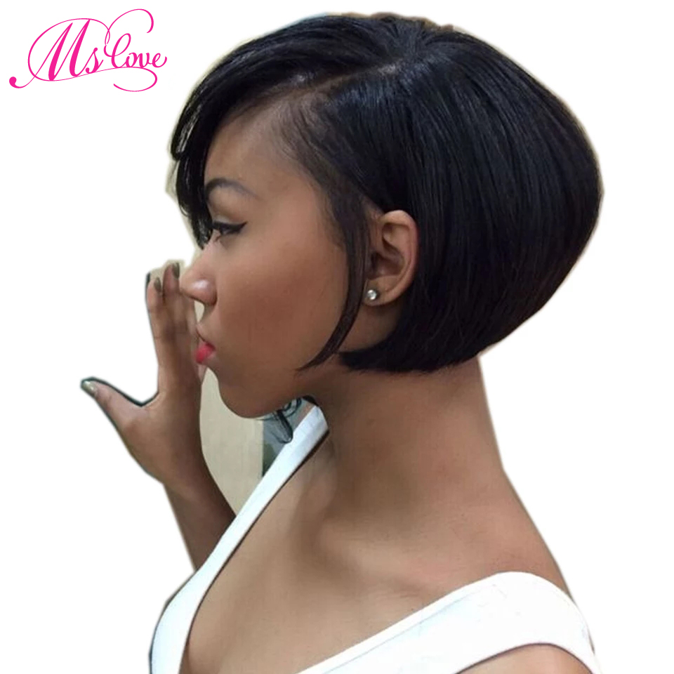 Lace Part Short Human Hair Wigs For Women Straight Lace Wig Humain Hair Brazilian Hair Wigs Non Remy Ms Love