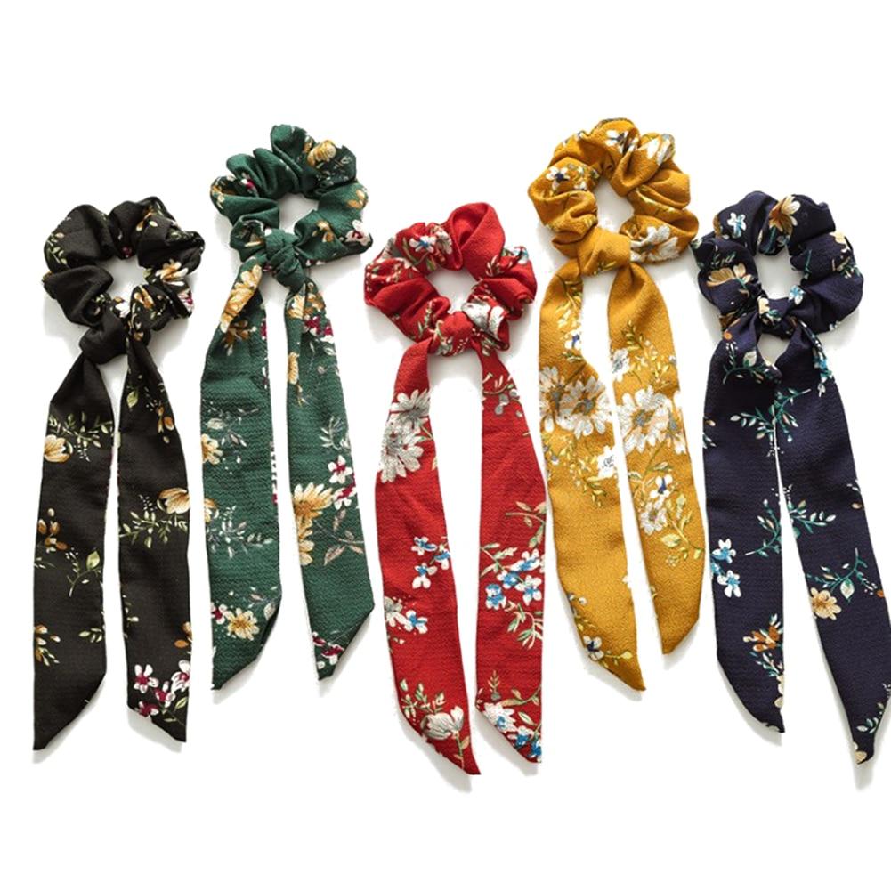 Fashion Polka Dot Streamers Bowknot Scrunchie Elastic Hair Bands Women Hair Rope Ties Ribbon Bands Sweet Girls Hair Accessories