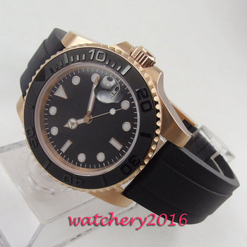 40mm BLIGER black dial Rose Gold case Sapphire Glass Brushed Ceramic Bezel MIYOTA 8215 Luxury Automatic movement Men's Watch