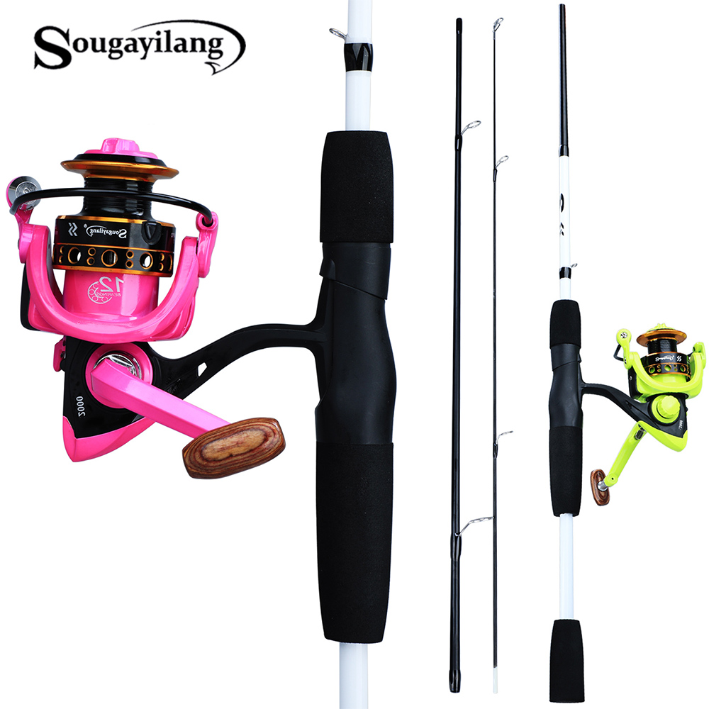 Sougayilang 1.75m Portable Fishing Rod Combos 3 Section Lure Fishing Rod with 12BB Aluminum Spinning Fishing Reels Kit Pesca|Rod Combo| |  - title=