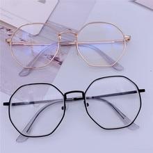 Gafas de protección contra luz azul Vintage montura redonda para miopía espejo óptico Simple Metal mujeres hombres marcos transparentes para gafas