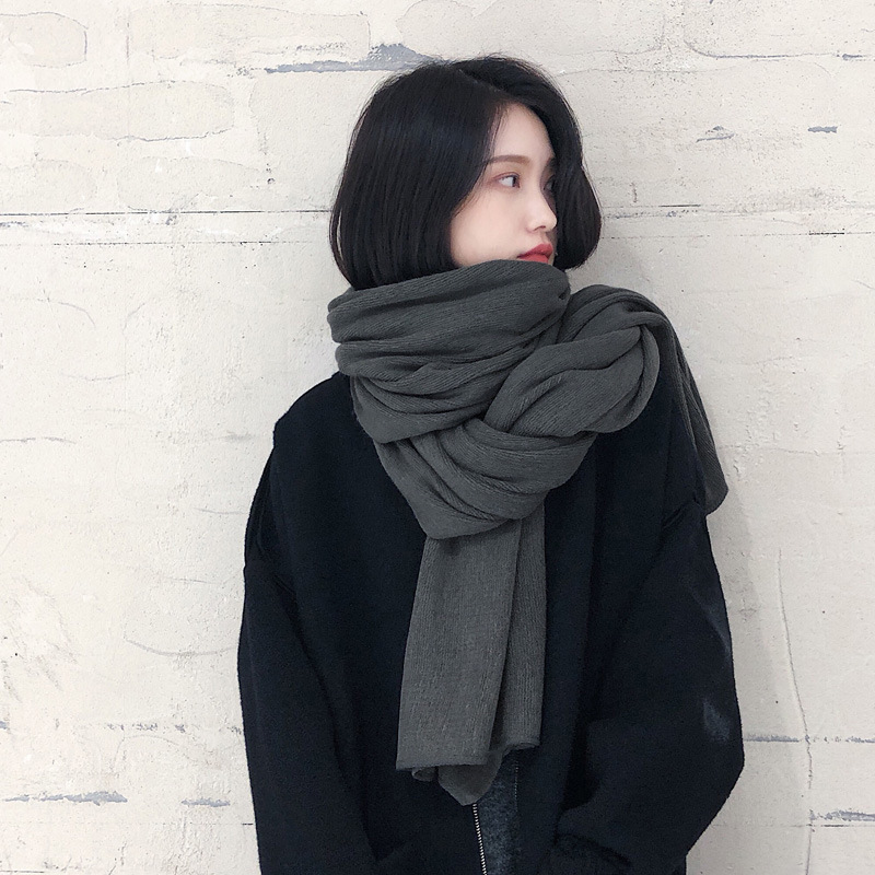 Thick Warm Scarf Women's Scarves Solid Color Faux Cashmere Scarf Black Scarf Women's Winter Extra-large Cape