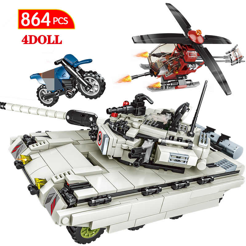 864PCS Military Intercontinental Building Blocks Legoing WW2 Tank Technic City police Soldier Weapon Army Bricks Toys For Kids