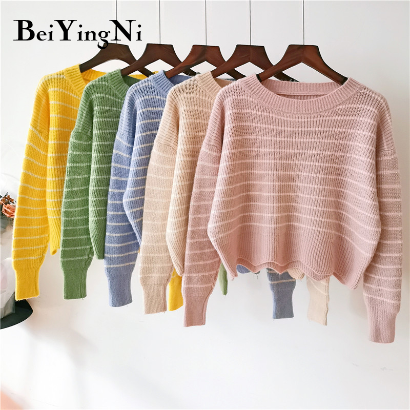 Beiyingni 2019 Pink Cute Women Sweater Stripe Ulzzang Short Knitted Sweaters Ladies O-neck Warm Soft Hipster Pullover Woman Tops