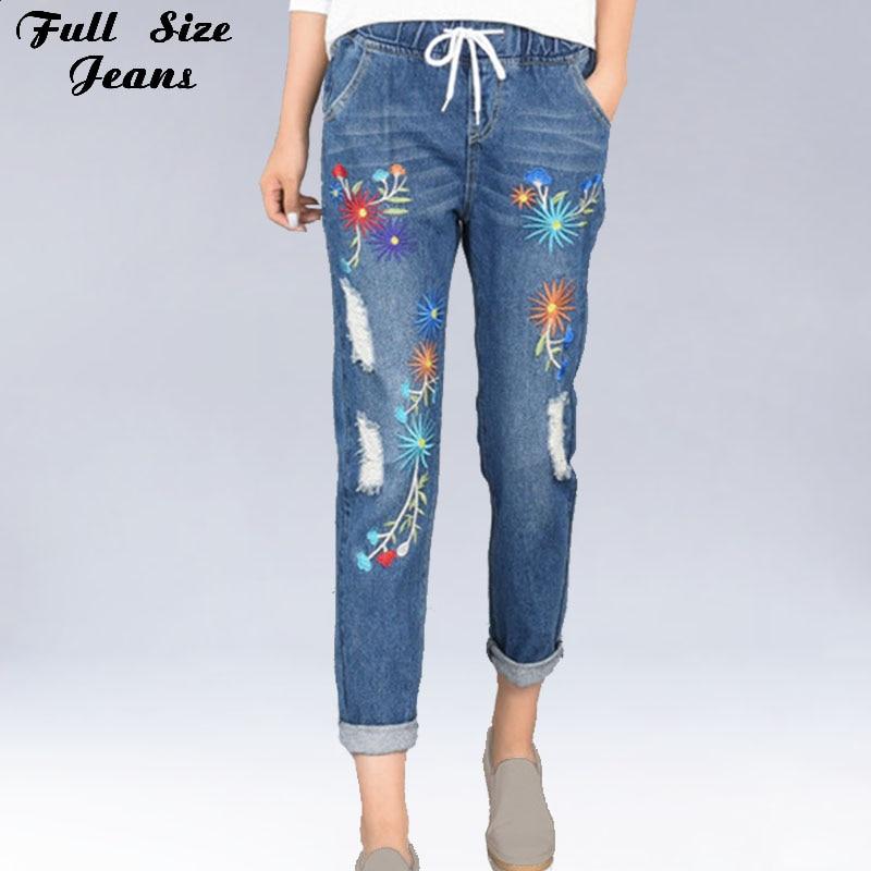 Plus Size Embroidery Hole Elastic Waist Loose Harem Jeans Oversized Ankle Length Women Denim Pants 4Xl 5Xl Xs 6Xl