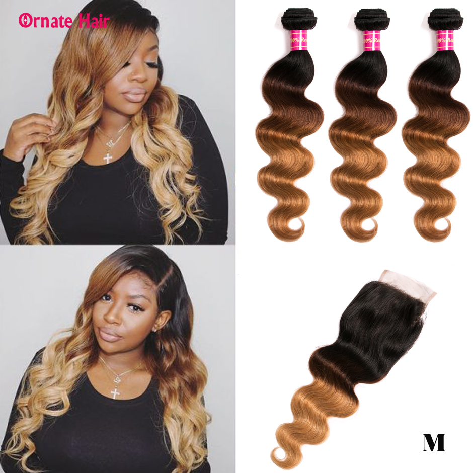 <font><b>Ombre</b></font> Colored Human Hair <font><b>Bundle</b></font> <font><b>With</b></font> <font><b>Closure</b></font> <font><b>Peruvian</b></font> Hair <font><b>Body</b></font> <font><b>Wave</b></font> 3 Blonde <font><b>Bundles</b></font> <font><b>With</b></font> <font><b>CLosure</b></font> Non-Remy Middle Ratio image