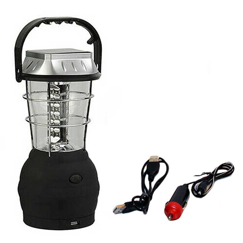 Al aire libre 36 LEDS luz Solar recargable linterna de lámpara de tienda mano manivela dinamo para Camping de senderismo