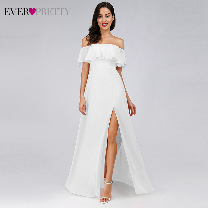 Wedding-Dresses Bride-Gowns Ever Pretty Side-Split Ruffles A-Line-Off-The-Shoulder Elegant title=