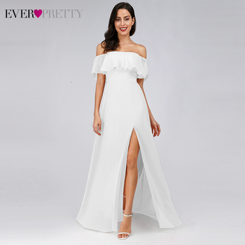 Simple White Wedding Dresses Ever Pretty EP00968WH A-Line Off The Shoulder Ruffles Side Split Elegant Beach Style Bride Gowns - discount item  35% OFF Wedding Dresses