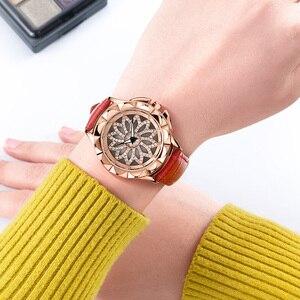 Image 5 - Роскошные женские часы MEGIR, модные кварцевые часы с вращающимся циферблатом, красные кожаные Наручные часы для влюбленных девушек, Relogio Feminino