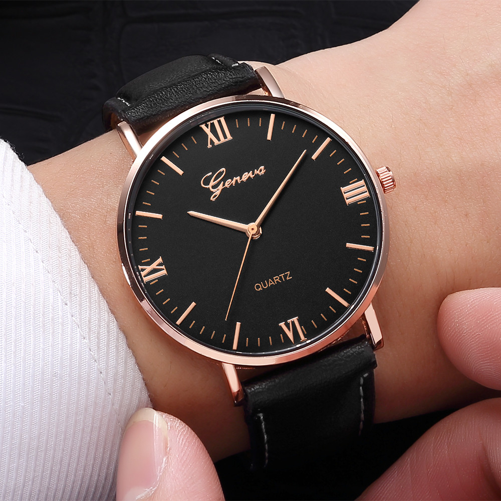Geneva Men Watches Classic Luxury Leather Watch Stainless Steel Analog Quartz Analog Wrist Watch Women Dress Relogio Masculino