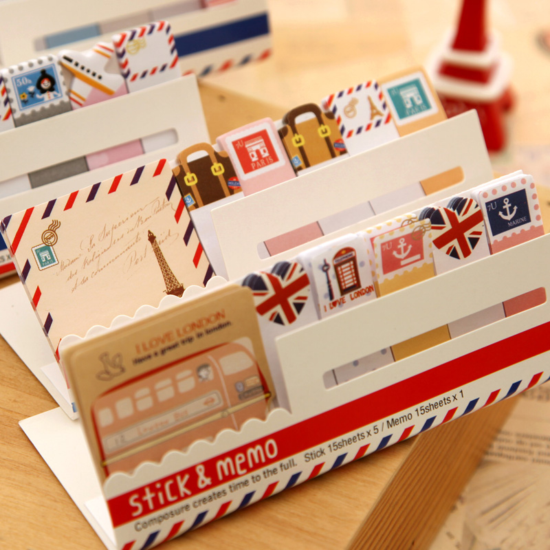 4pcs Vintage Travel Sticky Note Set London Paris City Memo Pad Post Stickers Marker It Planner Stationery Office School F511