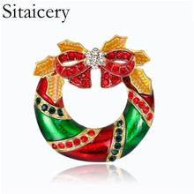 Sitaicery New Fashion Design Red Enamel Bow Tie Crystal Christmas Brooch Pins Colorful Wreath Brooches For
